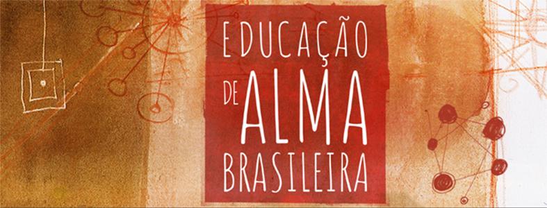 """Detalhe da capa do livro """"Educação de Alma Brasileira"""", A capa é pintada em aquarela, em tons de vermelho e marrom."""
