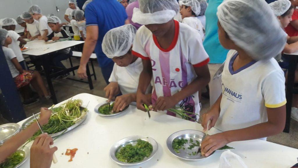 Estudantes estão em uma cozinha cortando e preparando uma receita com um tempero verde.