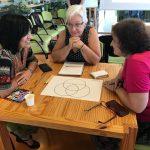 Três mulheres estão sentadas ao redor de uma mesa de madeira. Elas conversam.