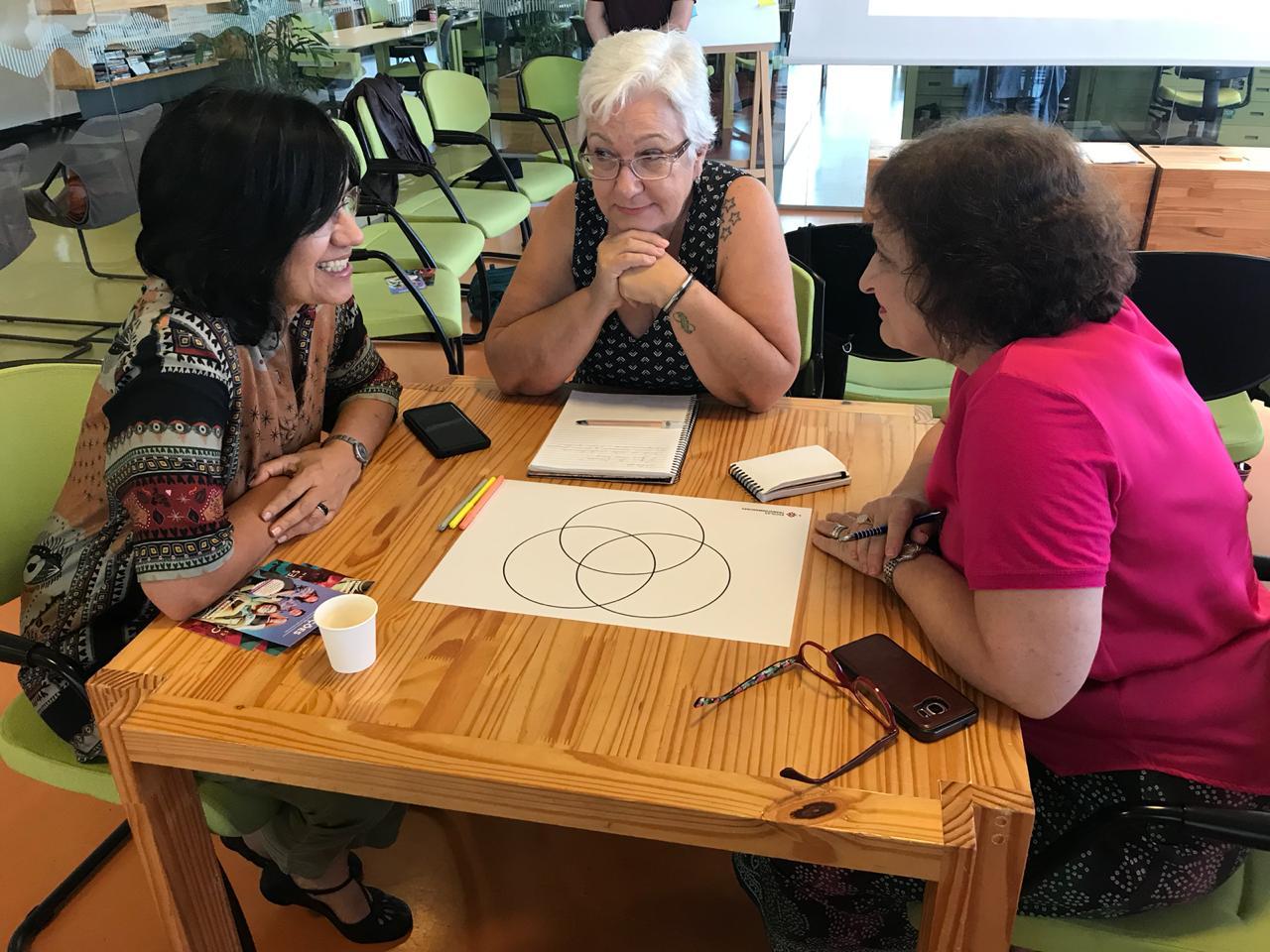 Três mulheres estão sentadas ao redor de uma mesa de madeira. Elas estão conversando.