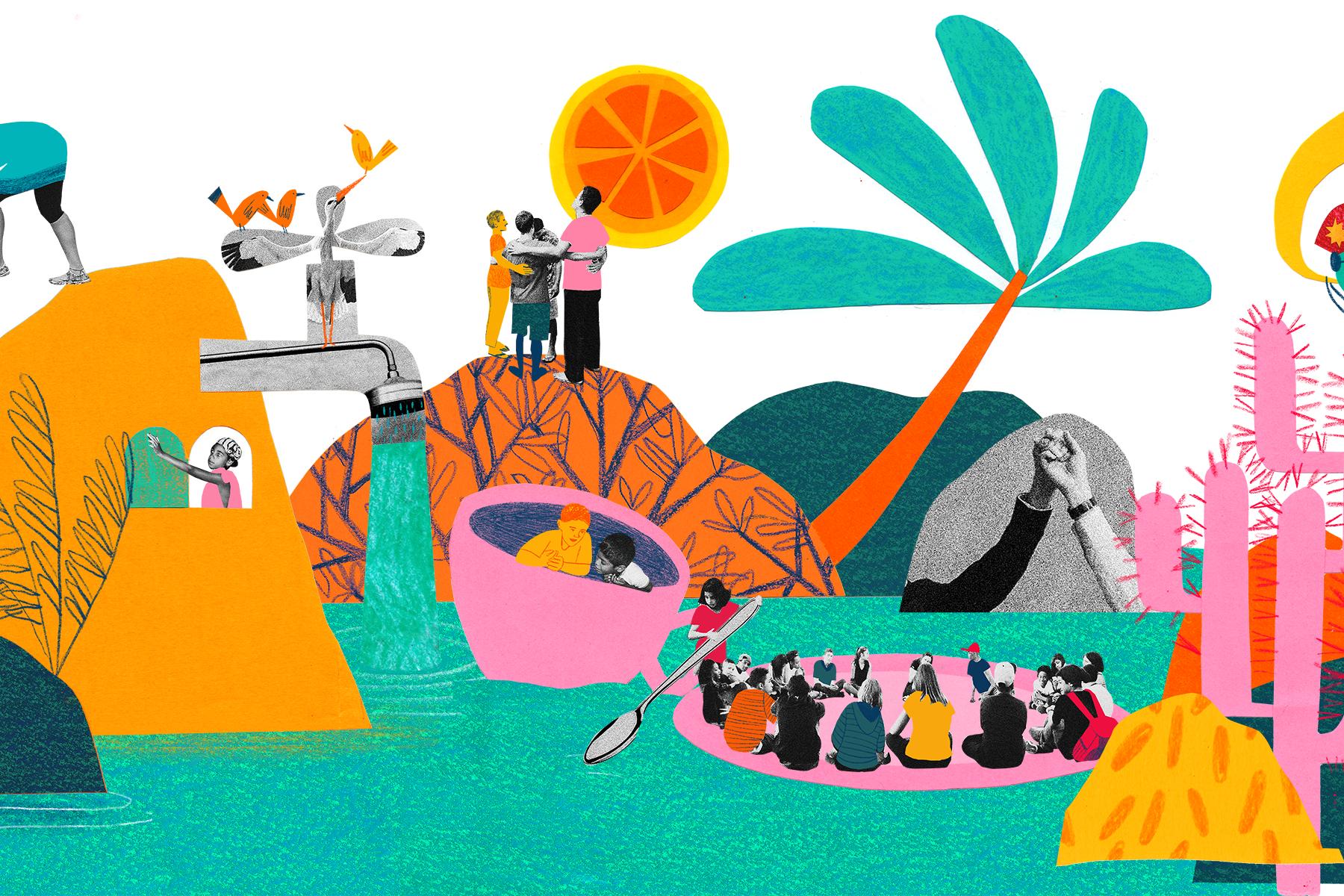 a imagem mostra uma colagem de ilustrações. Ao fundo, há montanhas, árvores e um sol. Embaixo, há um lago, onde pessoas passeiam sobre uma xícara e um prato.